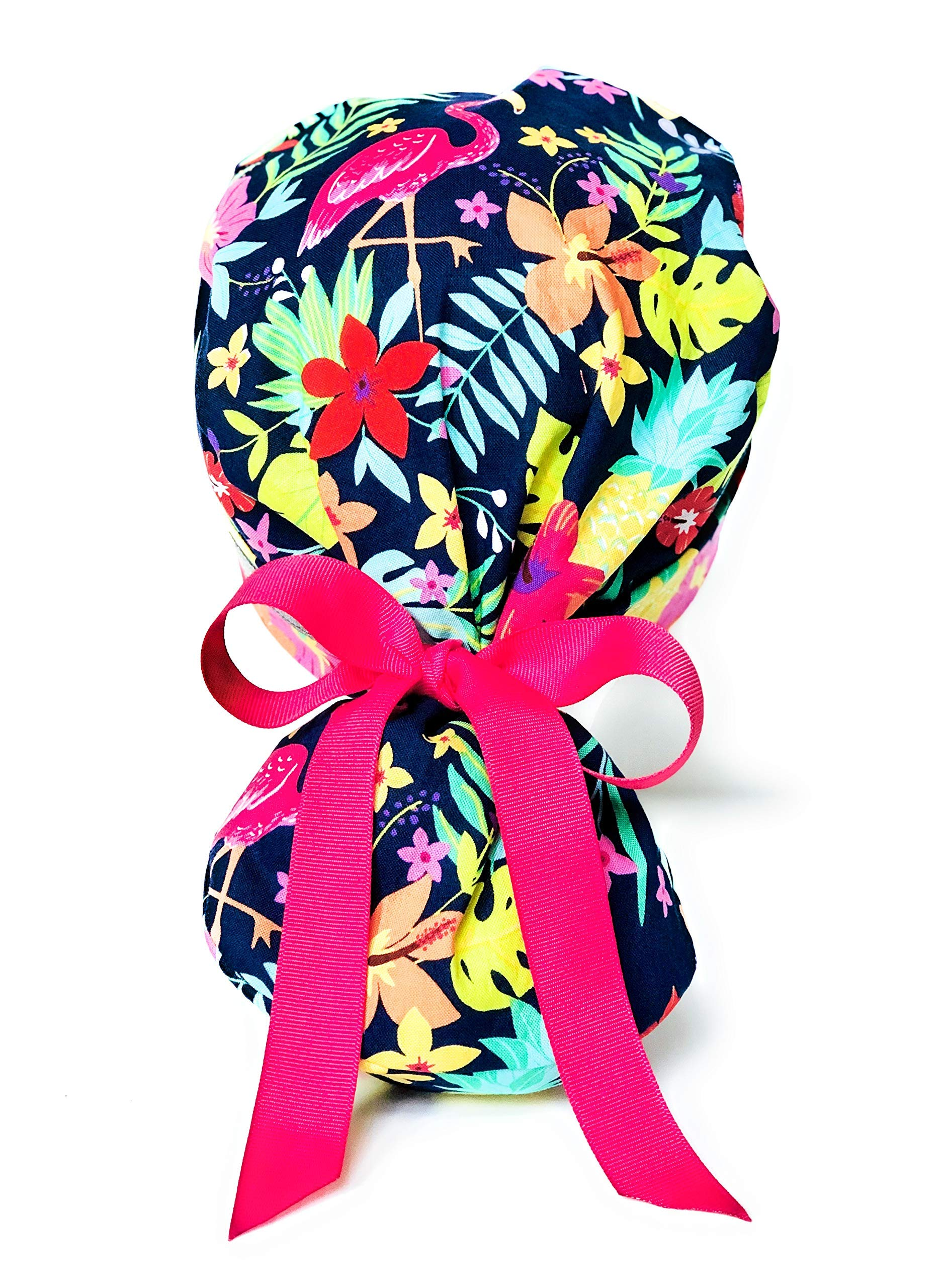 Summer Tropical Flamingo Ponytail Scrub Cap for Women with Pink Ribbon by E.Y.I.P.