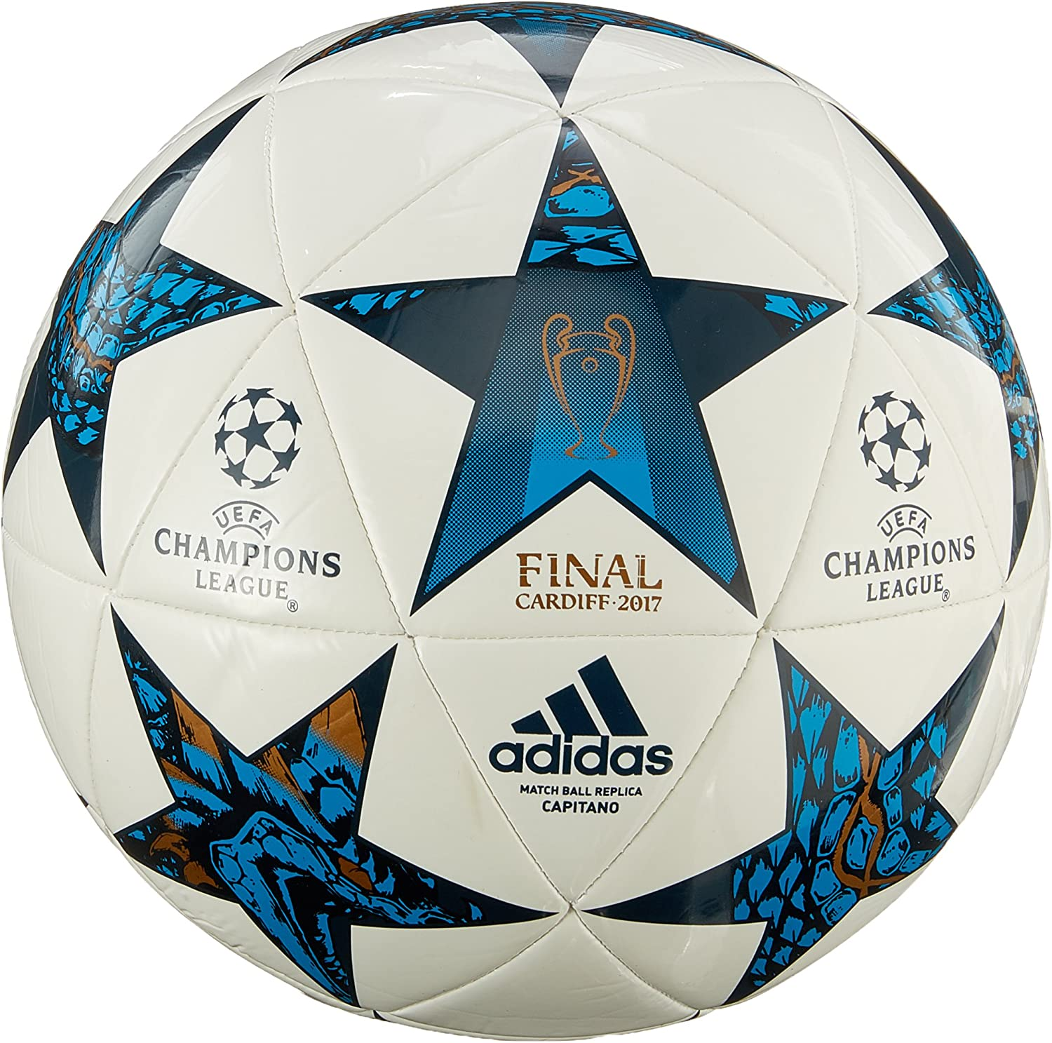 Mal funcionamiento borroso máximo  Adidas Men Finale Cardiff 2017 Capitano Ball - White/Mystery Blue/Cyan,  Size 5: Amazon.co.uk: Sports & Outdoors