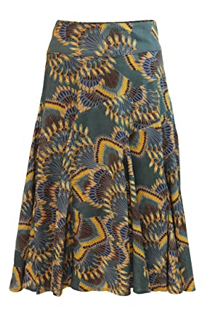 1a3b2e894 Ex Monsoon Womens Grey Blue Peacock Flare Skirt (8): Amazon.co.uk: Clothing