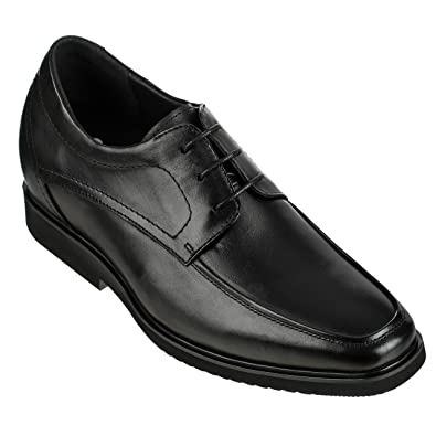 4498a8094 Calden Men's Invisible Height Increasing Elevator Dress Shoes - Black  Premium Leather Slip-on Super Lightweight Formal Oxfords - 2.6 Inches  Taller - K312316