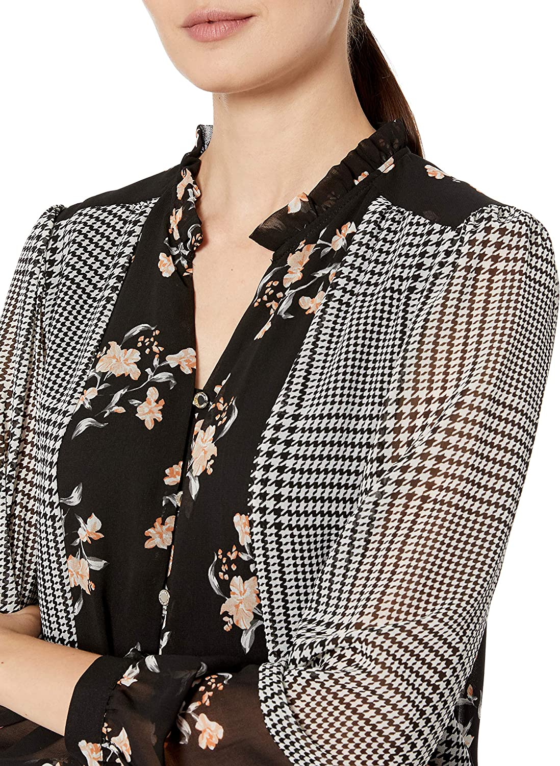 Calvin Klein Womens Button Up Blouse with Ruffle Collar Blouse Plaid Combo