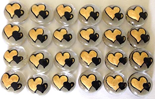 etc.let your imagination run wild AMERICAN FLAG HEART LARGE 1 Memoir Decoration Token Jazzy Glass Gems - Set of 8 Hand Painted Glass Gems; Party Supplies Party Favor