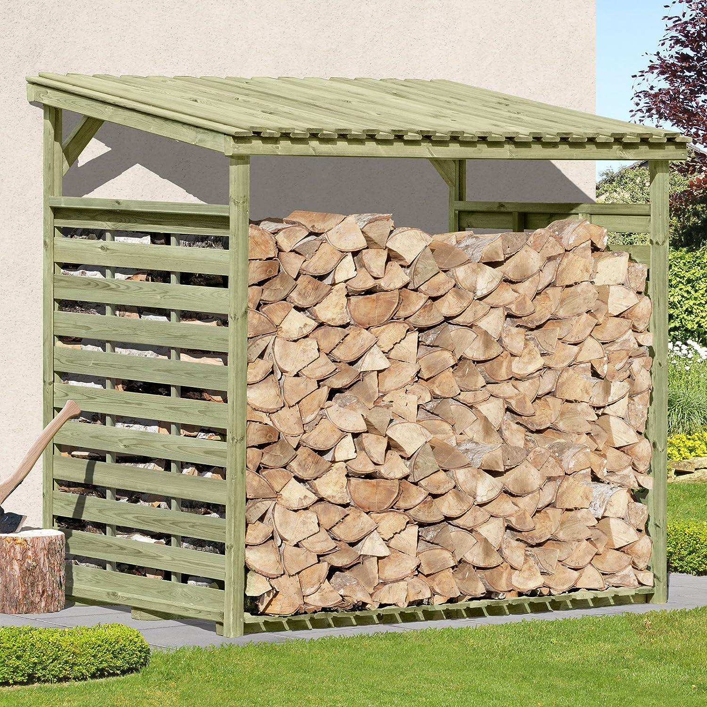 Kaminholzunterstand mit rückwand  Gartenpirat Kaminholzunterstand Exklusiv XXL für bis zu 4,1 m³ ...