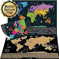 W WANDERLUST MAPS Mappa del mondo con bandiere da grattare + Mappa dell'Europa in Regalo