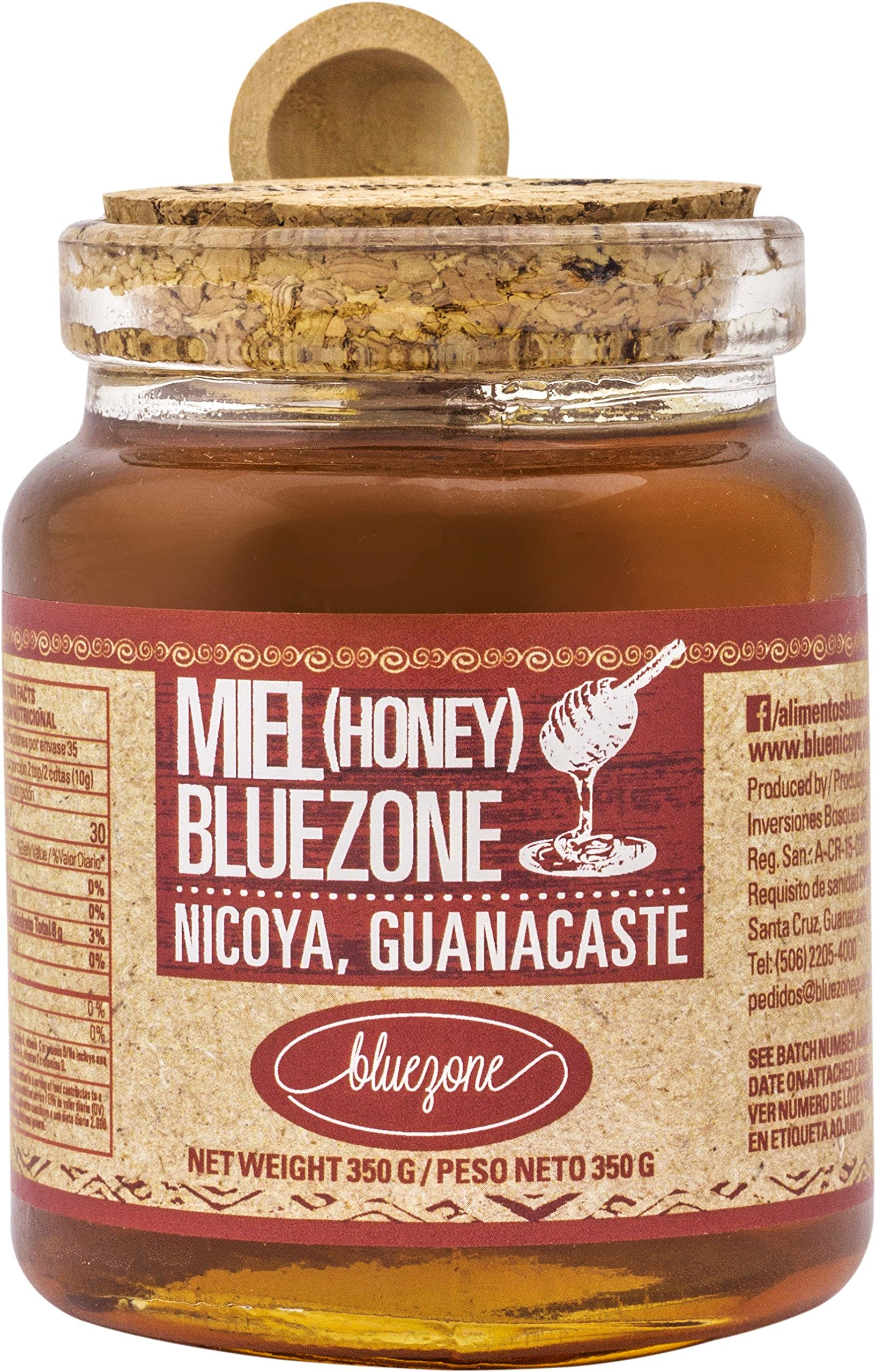 Blue Zone 100% Raw Unfiltered Natural Costa Rican Bee Honey with Bamboo Spoon (350g)