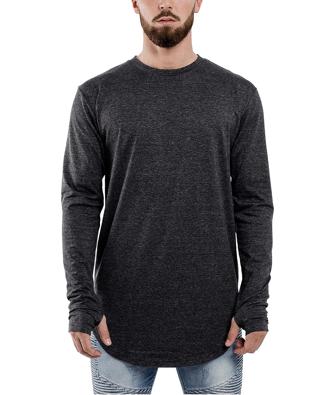 54ee4552a7eb Blackskies Round Long Sleeve Sleeve Sleeve Basic Men's Longline T-Shirt  Oversized Curved Hem Sweater L S Long Tee - Charcoal Large L 052f9f