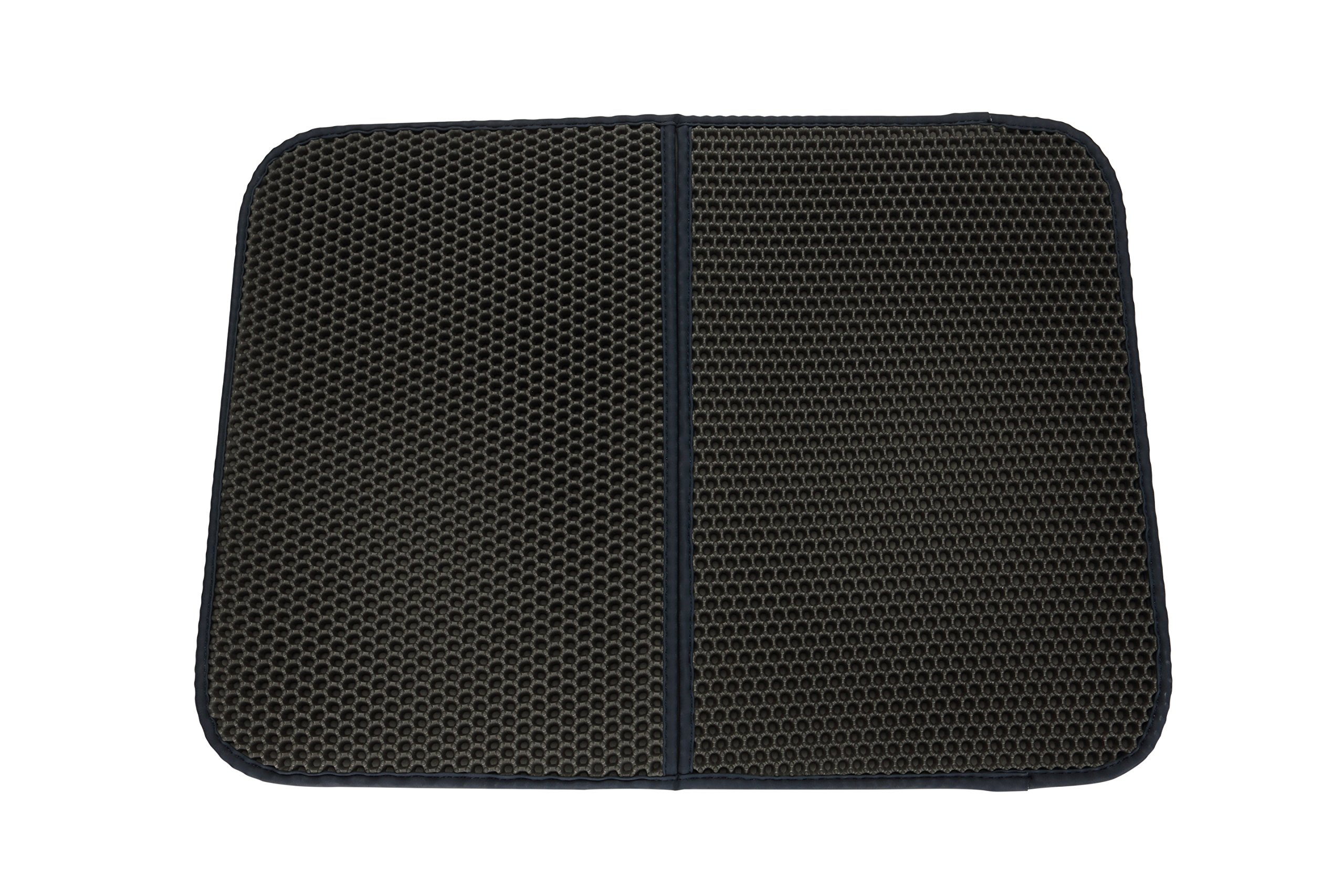Petneces Cat Litter Trapper Mat Double Waterproof Layer Honeycomb Design, Best Scatter Control,Traps Litter Pan from Box and Paws(black)