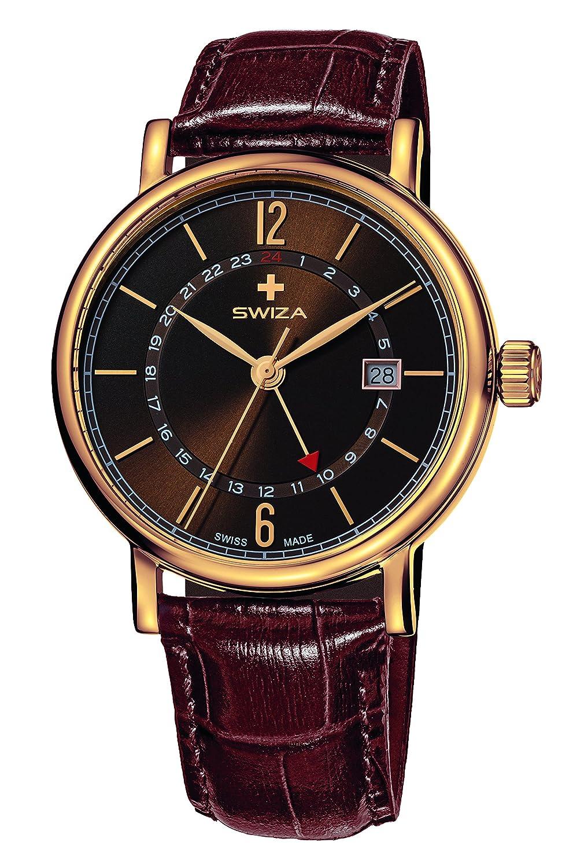 SWIZA Alza Gmt Quarzlaufwerk - GehÄuse Edelstahl - Goldene Pvd-Beschichtung - Braunes Band Luxus Uhr Made in Swiss