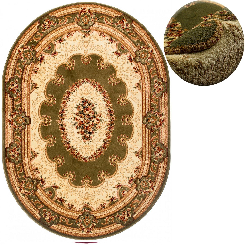 Carpeto Teppich OVAL Klassisch Orientalisch Ornamente Muster 3D-Effekt Konturenschnitt (200 x 300 cm, Grün)