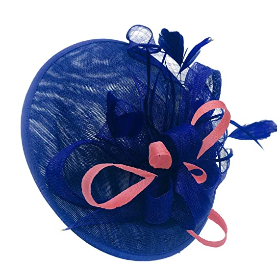 6fa9bb9b Caprilite Royal Blue and Baby Pink Sinamay Big Disc Saucer Fascinator Hat  for Women Weddings Headband: Amazon.co.uk: Clothing
