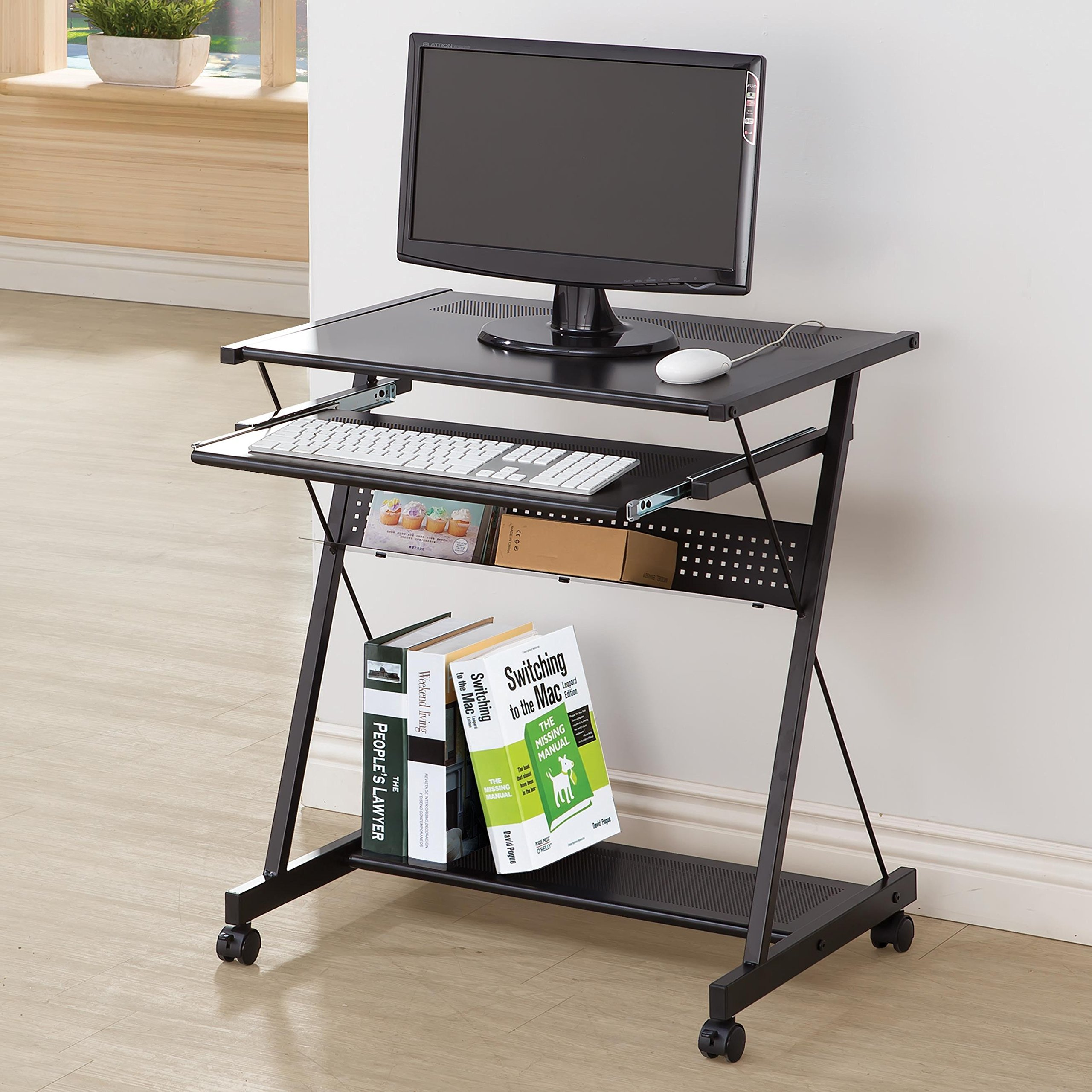 Coaster Contemporary Black Computer Desk with Keyboard Drawer and Casters