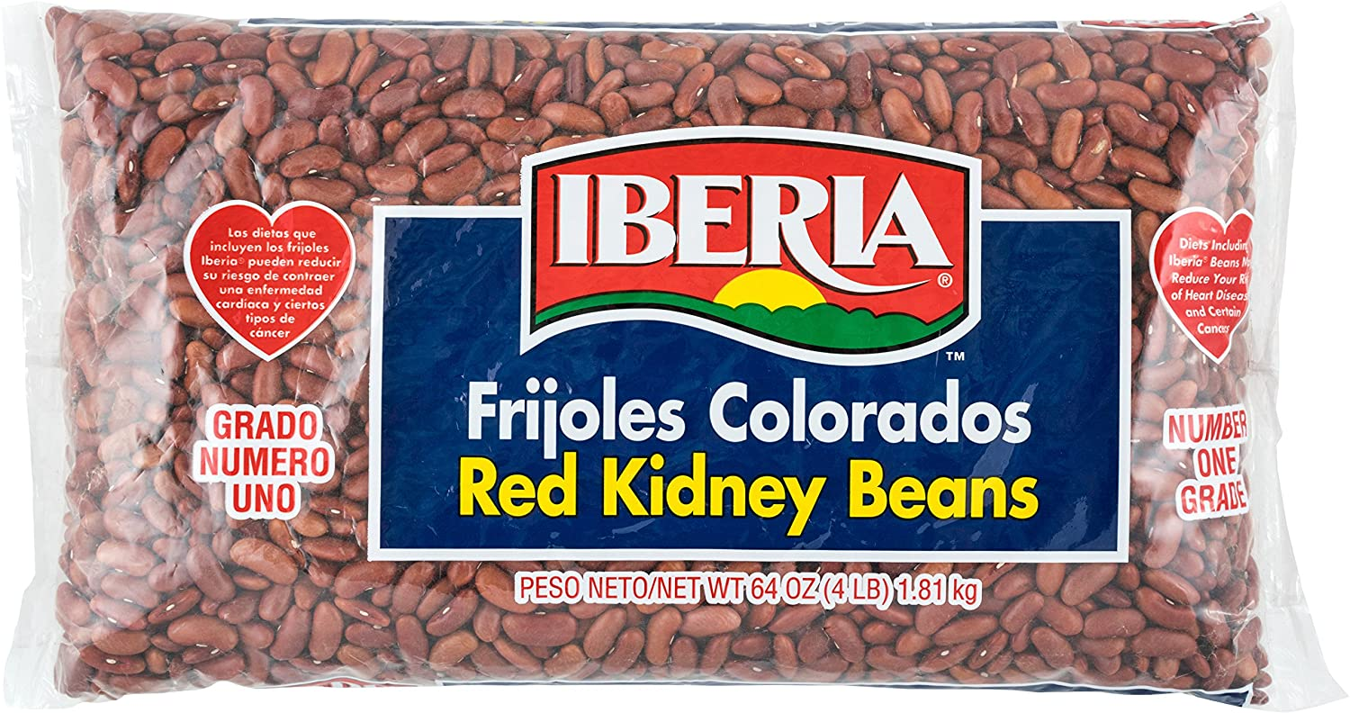 Iberia Red Kidney Beans, 4 lb, Bulk Red Kidney Beans, Long Shelf Life Kidney Beans with Easy Storage, Rich in Fiber & Potassium, Low Calorie, Low Fat Food