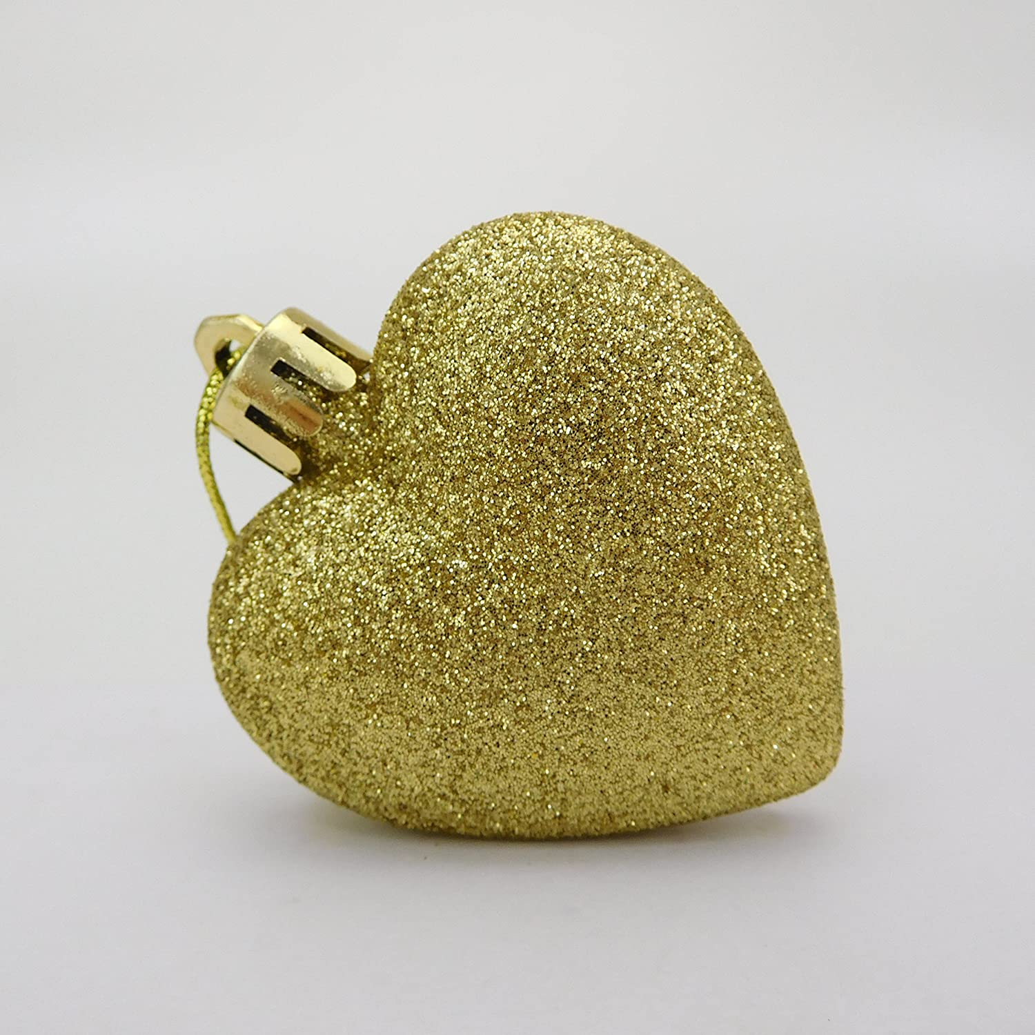 Christmas Concepts/® Pack of 8-60mm Heart Shaped Christmas Tree Baubles Copper Glitter Decorated Baubles