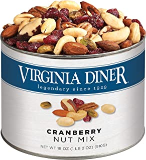 product image for Virginia Diner - Gourmet Natural Cranberry Nut Mix (Virginia Peanuts, Almonds, Cashews, Pecans, Pistachios, Brazil Nuts, & Dried Cranberries), 18 Ounce Tin