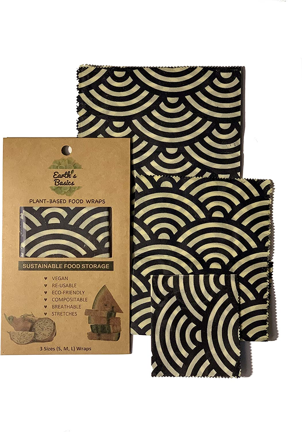 Reusable Organic Food Wraps, Assorted Design 3 Pack by Earth's Basics - Plant Based Food Wraps, Vegan, Non-Toxic, Biodegradable, Eco Friendly - 3 Assorted Size Wraps