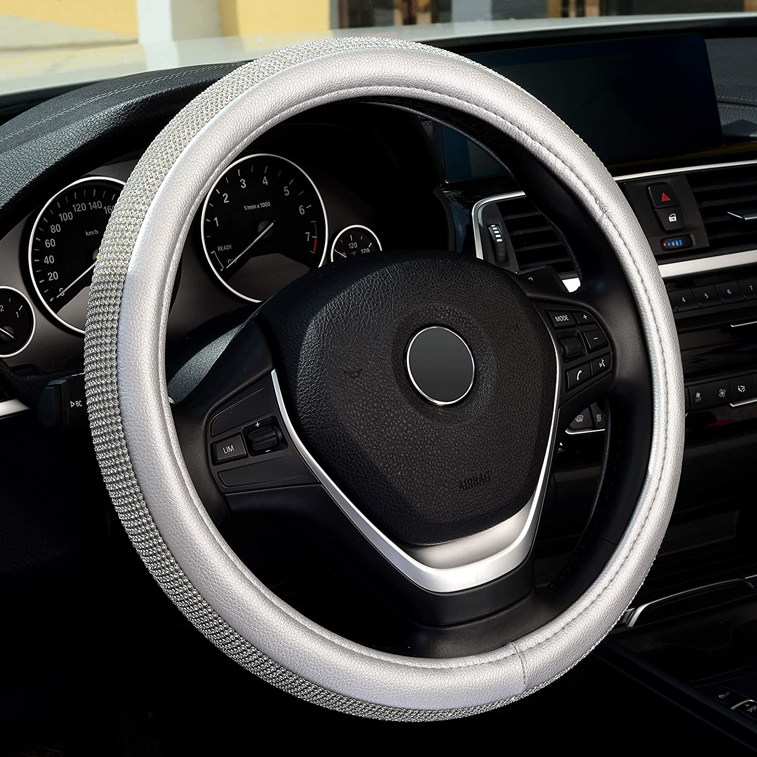Labbyway Diamond Leather Steering Wheel Cover with Bling Bling Crystal Rhinestones, Universal Fit 15 Inch Car Wheel Protector for Women,Silver