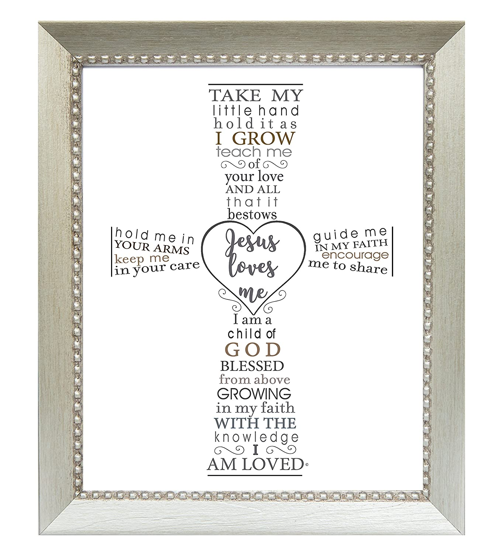 The Grandparent Gift Jesus Loves Me Frame for Baby's Baptism or Christening, silver frame The Grandparent Gift Co. 5124S
