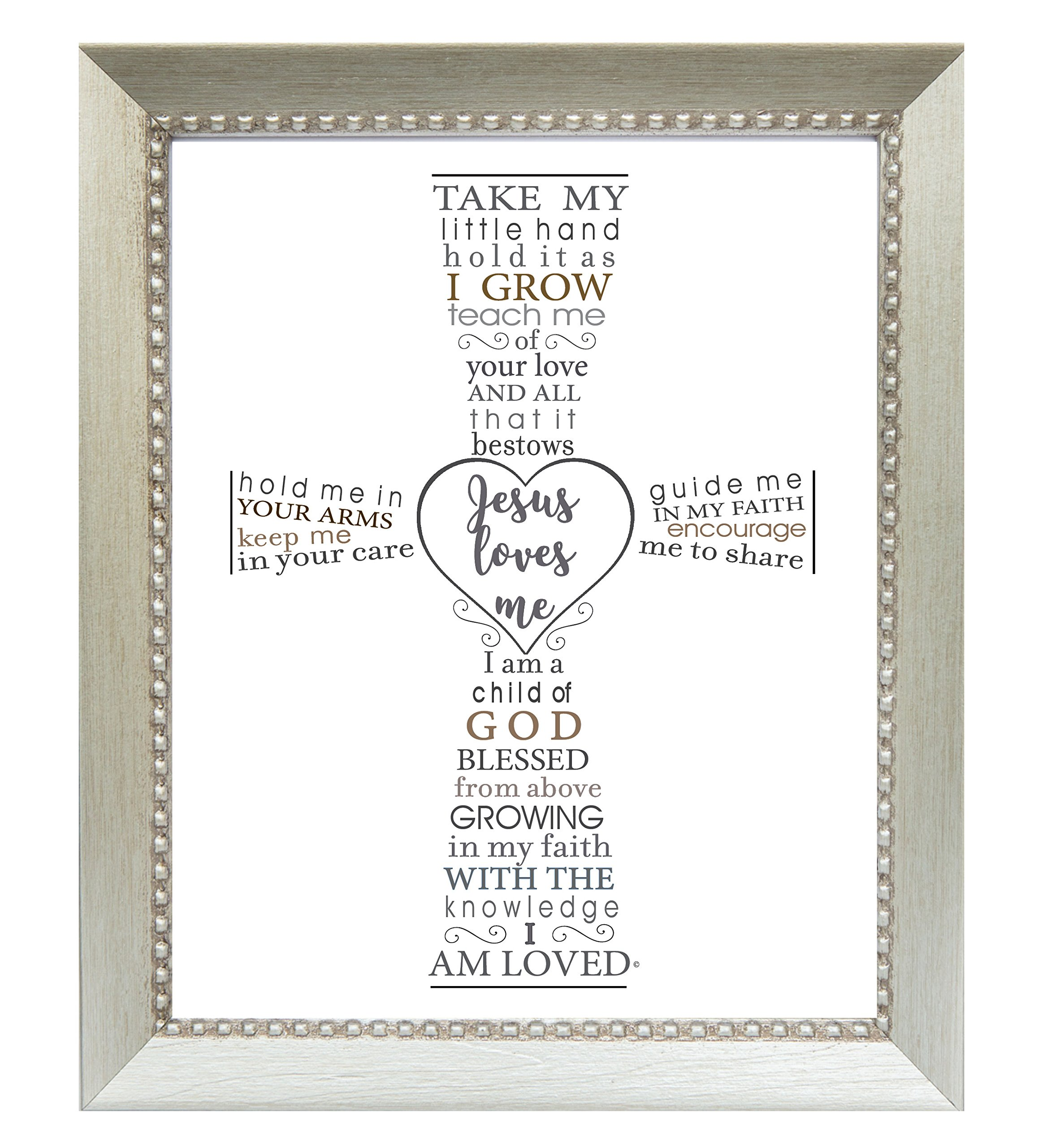 The Grandparent Gift Jesus Loves Me Frame for Baby's Baptism or Christening, silver frame