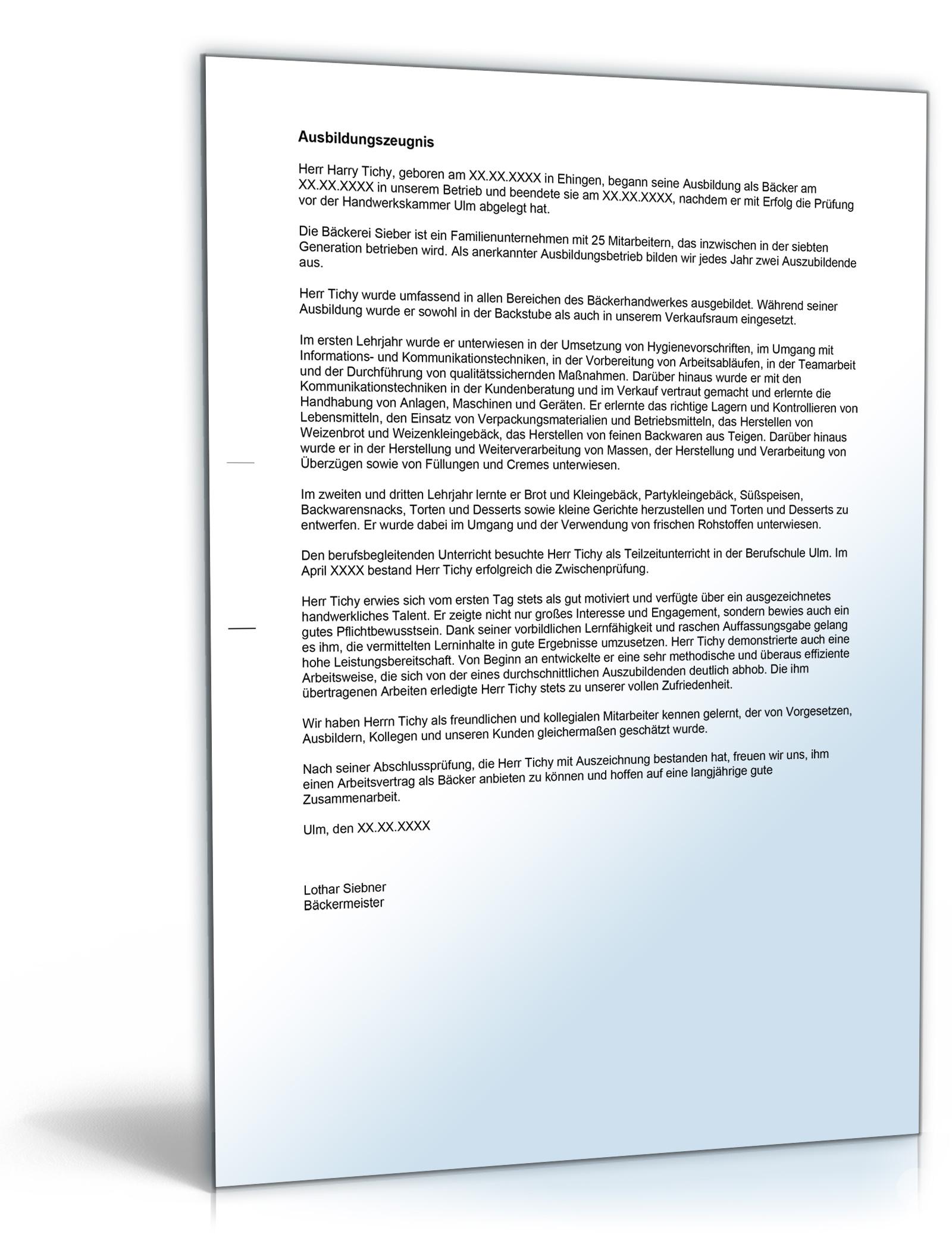 Ausbildungszeugnis Bäcker Note Zwei Word Dokument Amazon