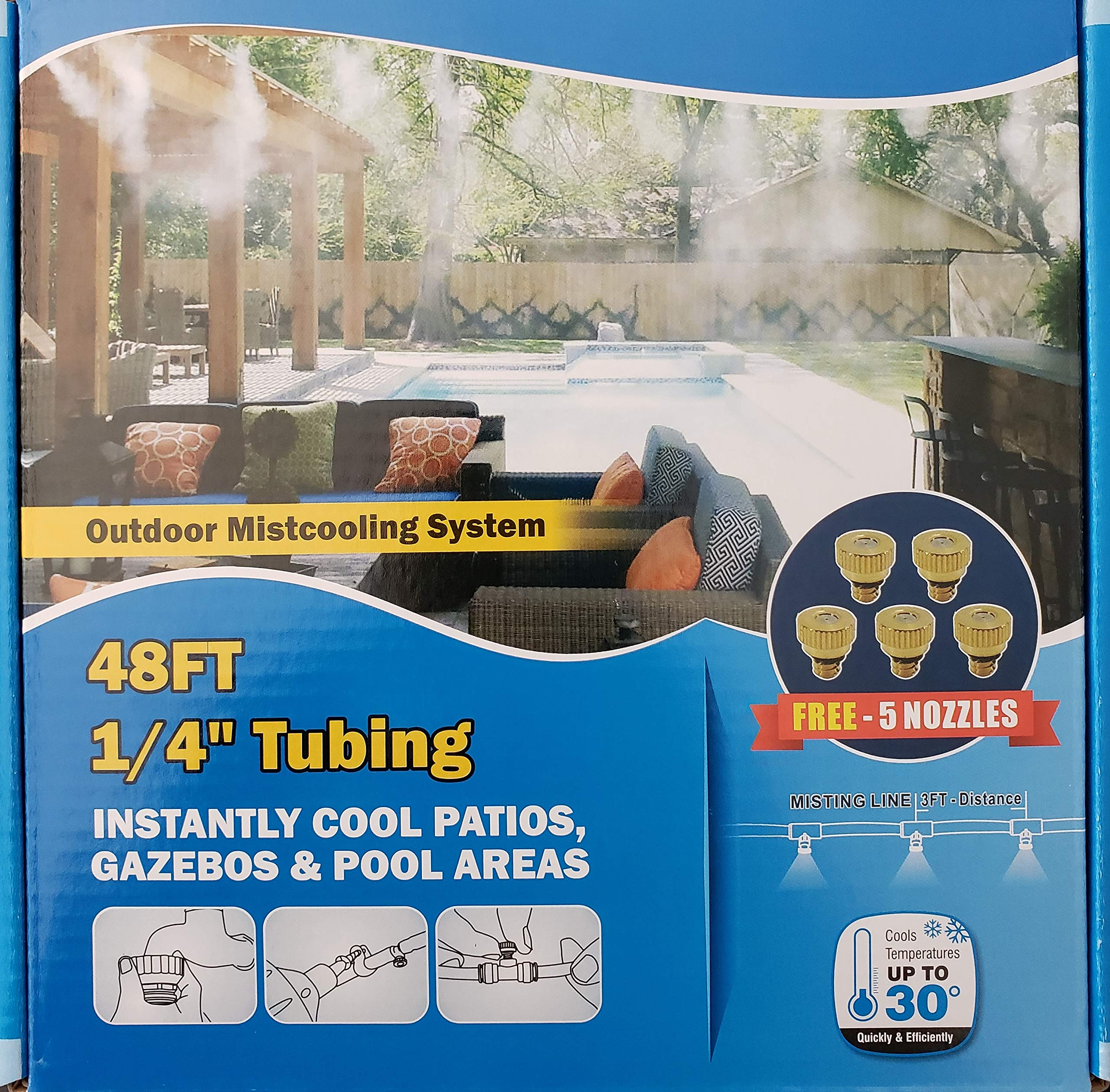 Hydrobreeze Outdoor Cooling System 48 Ft 1/4'' BeigeTubing - 12 Nozzles System by Hydrobreeze