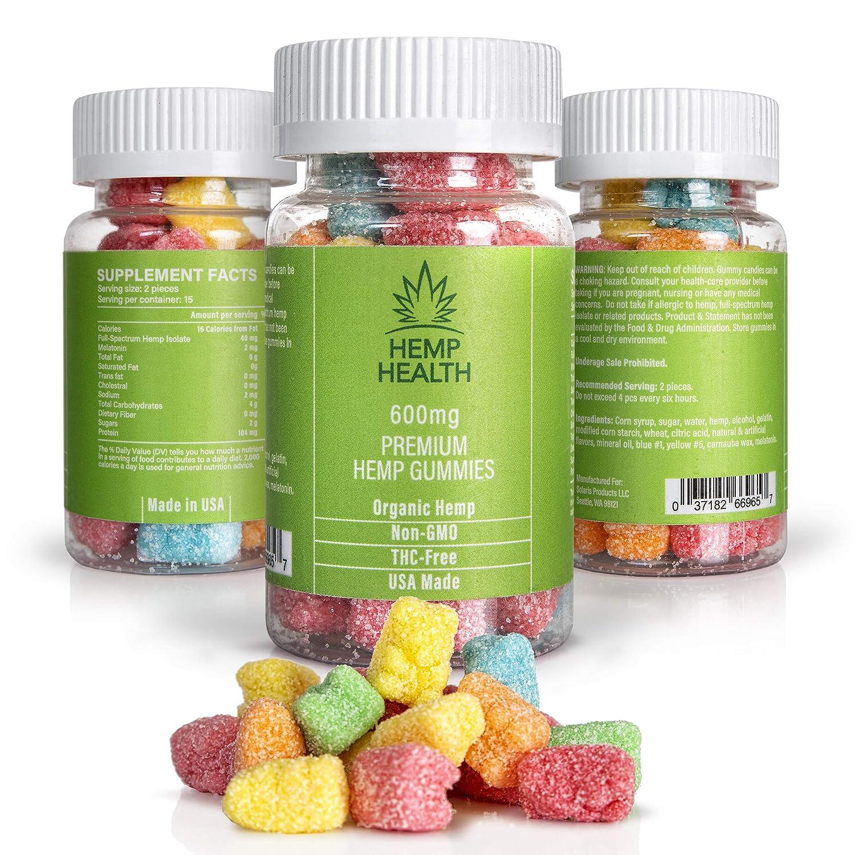 Hemp Gummies - 20mg per Gummy, 600mg per Bottle |Organic Full-Spectrum Hemp  Oil Extract |
