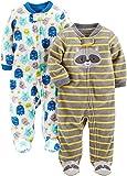 Simple Joys by Carter's - Juego de 2 Calcetines de Forro Polar para Dormir y Jugar, Monstruos/Mapache, 6-9 Months