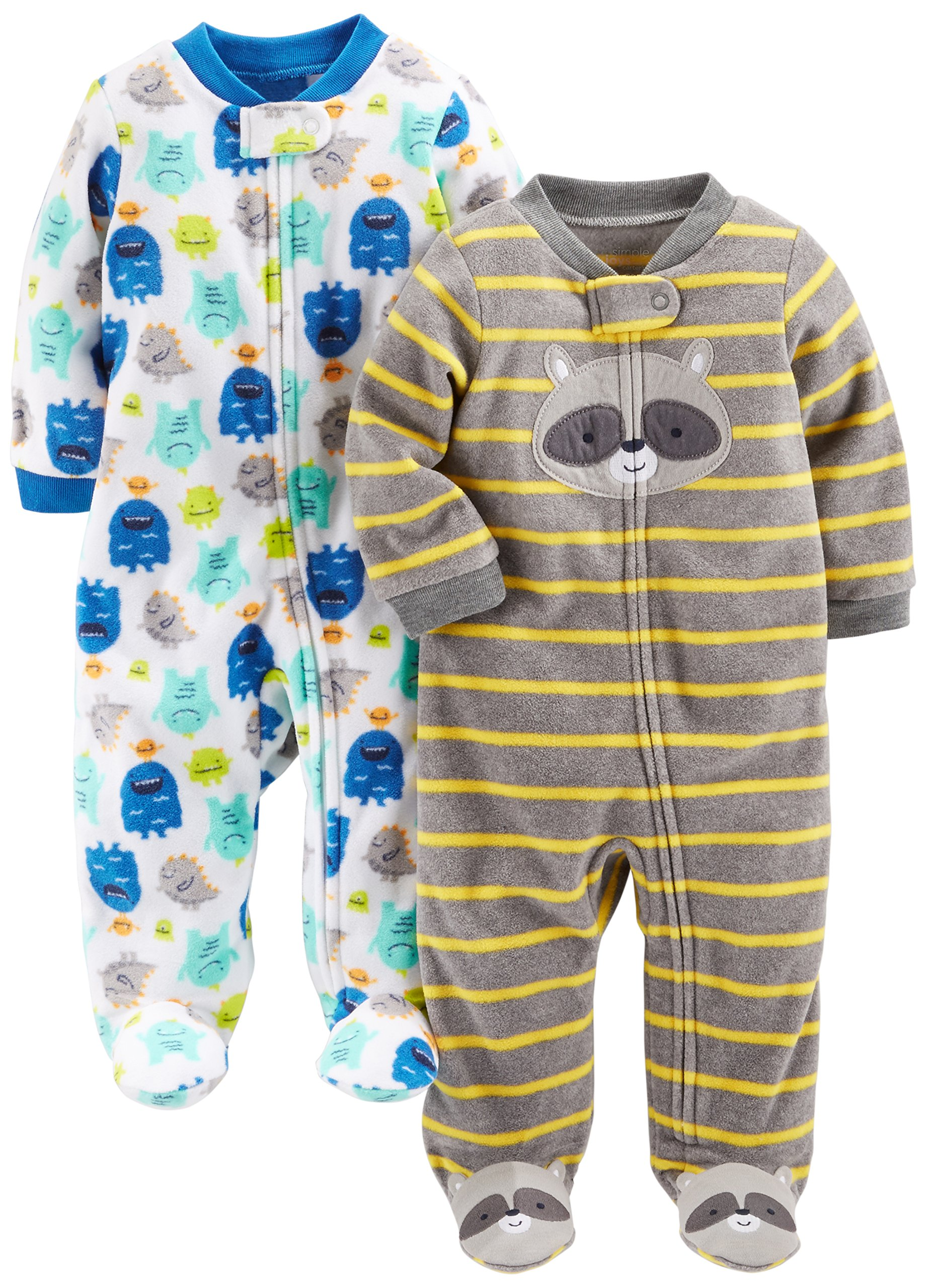 Simple Joys by Carters baby-boys 2-Pack Neutral Cotton Footless Sleep and Play Footie