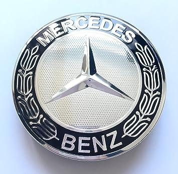 Llanta Tapa Mercedes Benz 4 x 75 mm Buje Buje de rueda tapa Tapacubos Tapacubos Llanta tapas Buje tapas Wheel Caps cromo/negro: Amazon.es: Coche y moto