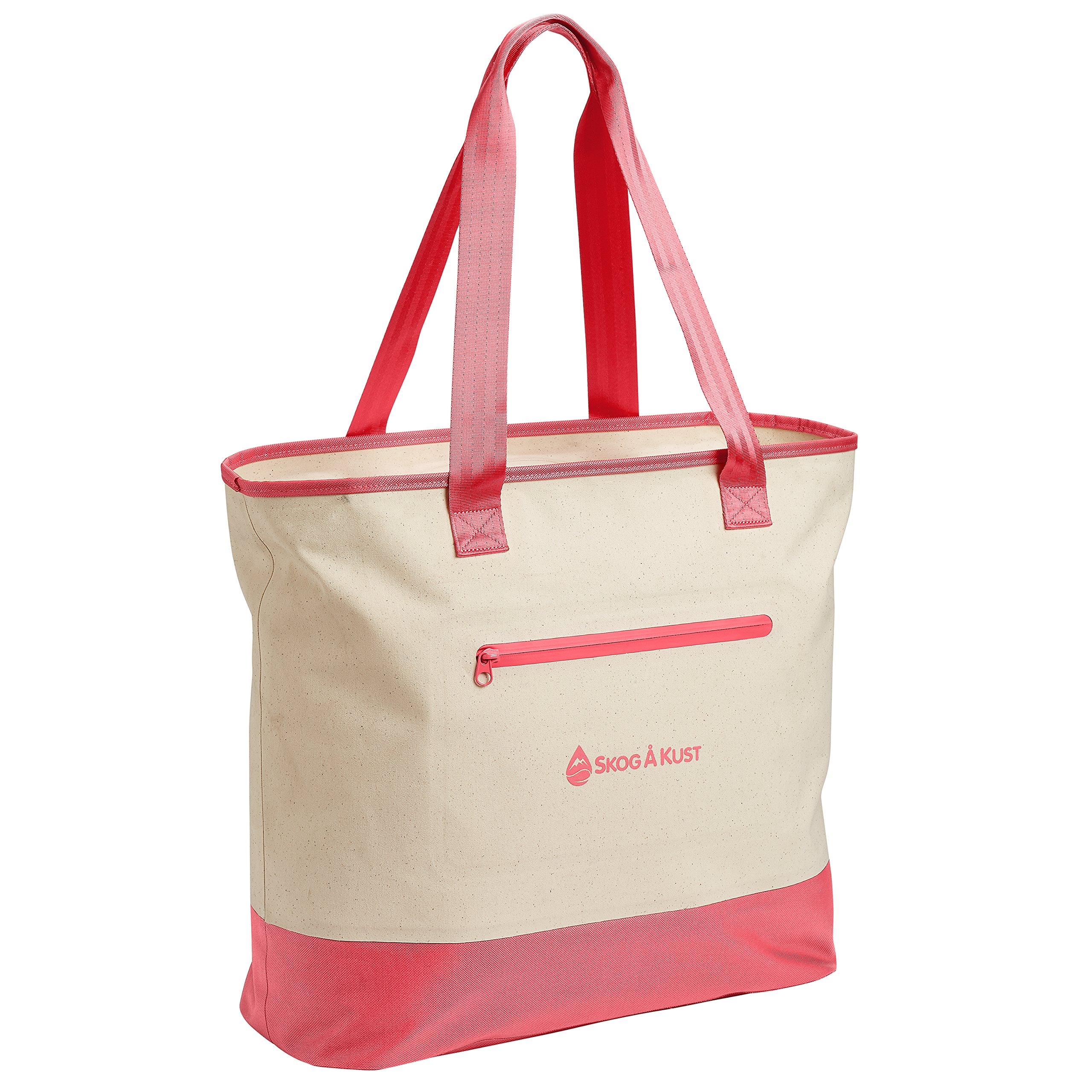 Såk Gear ToteSåk | 100% Waterproof Tote Bag with Airtight Zipper | Interior and Exterior Pockets Great for Organization | Classic, Sophisticated Design | TPU-Coated Canvas Beach Bag | Coral Pink