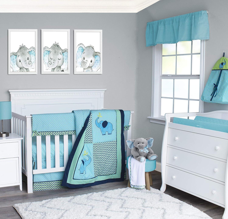 Pam Grace Creations 6 Piece Zigzag Chevron Elephant Crib Bedding Set
