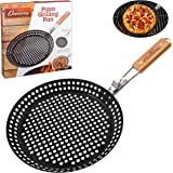 Pizza Grill Pan - Non-Stick Grilling Pan with Holes, Extra High Walls & Removable Handle - Use for Vegetables, Seafood, Shish Kebab