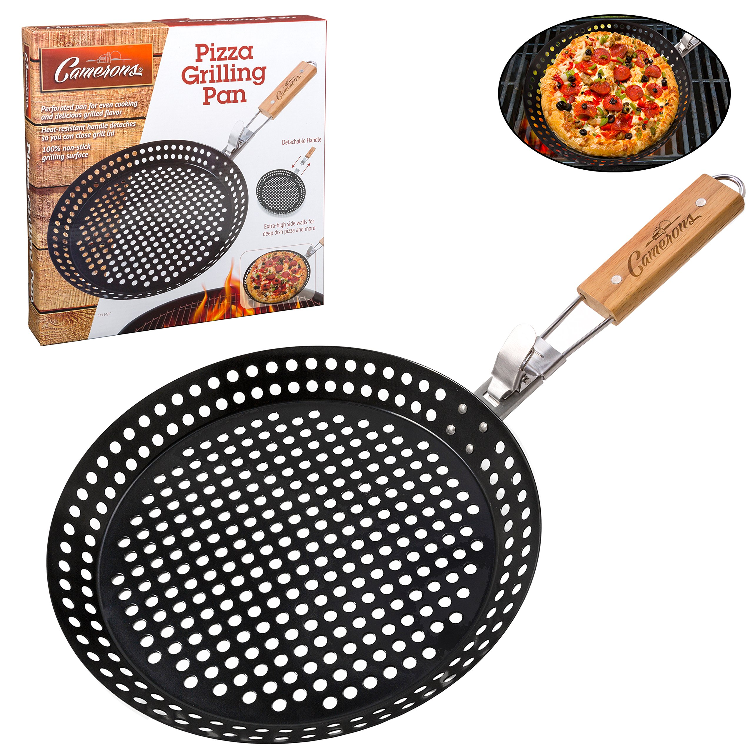 Pizza Grill Pan (12'') w Removable Handle - Non-Stick w Extra High Walls - Great for Grilling Vegetables, Seafood, Shish Kebab