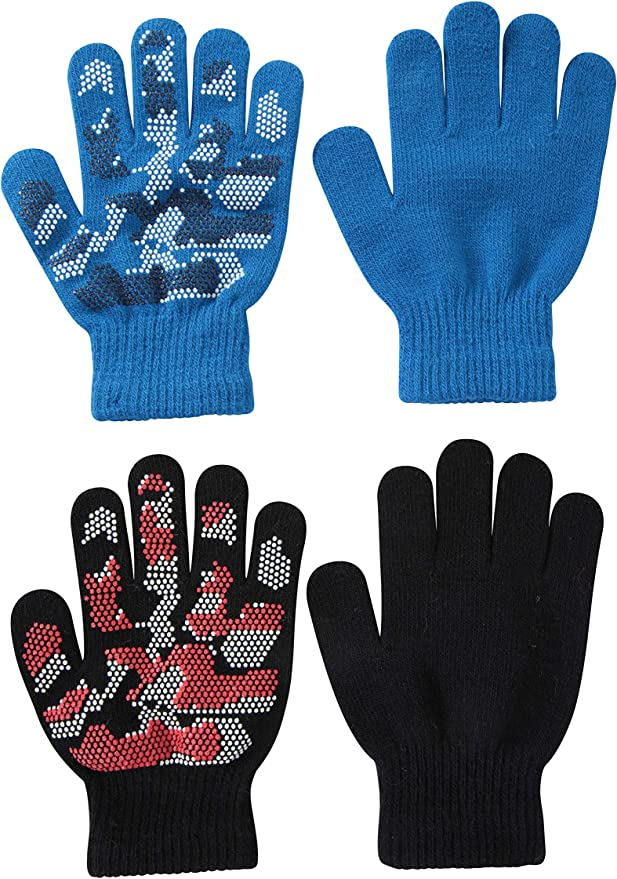 Stretch Knit with Textured Palm One Size Fits All 2 Packs Mountain Warehouse Magic Grippi Kids Gloves Ideal for Kids When Outdoors in Winter