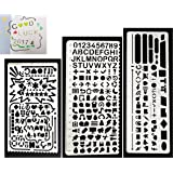Gimars 3 Upgrade Larger 11mm Cut Die Hole Grind and Polish Stainless Steel Bullet Journal Stencils Drawing Templates Scale Ruler with No Sharp Edge & Pouch for Planner, Scrapbooking & Craft Projects