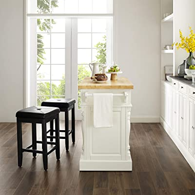 Buy Crosley Furniture Kitchen Island With Butcher Block Top And 24 Inch Upholstered Square Seat Stools White Black Online In Greece B079j9whjb
