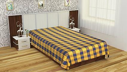 Kandasarapatty 200 TC Cotton Single Karur Handloom Cotton Bedsheets    Checkered, Orange