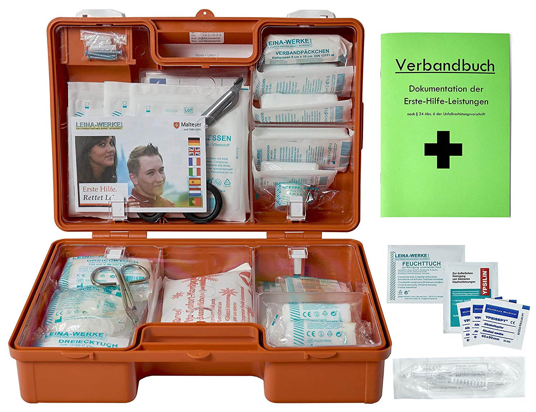Verbandkasten Erste-Hilfe-Koffer für Betriebe nach der DIN 13157-C. Stabiler, Orangefarbener ABS-Kunststoffkoffer mit fester Inneneinteilung und Wandhalterung. Gefüllt !