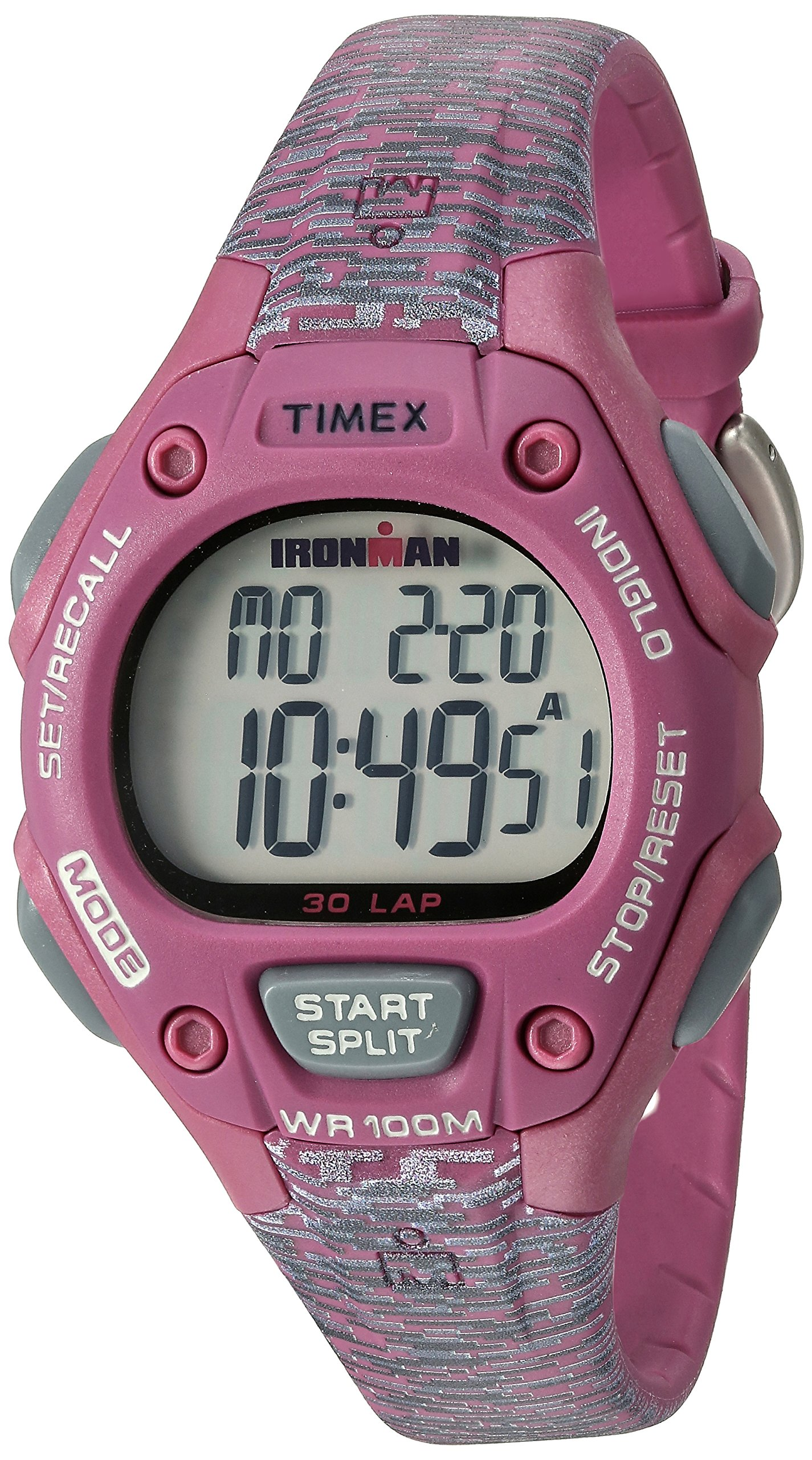 Timex Women's Ironman 30-Lap Digital Quartz Mid-Size Watch, Pink/Gray Texture - TW5M076009J by Timex
