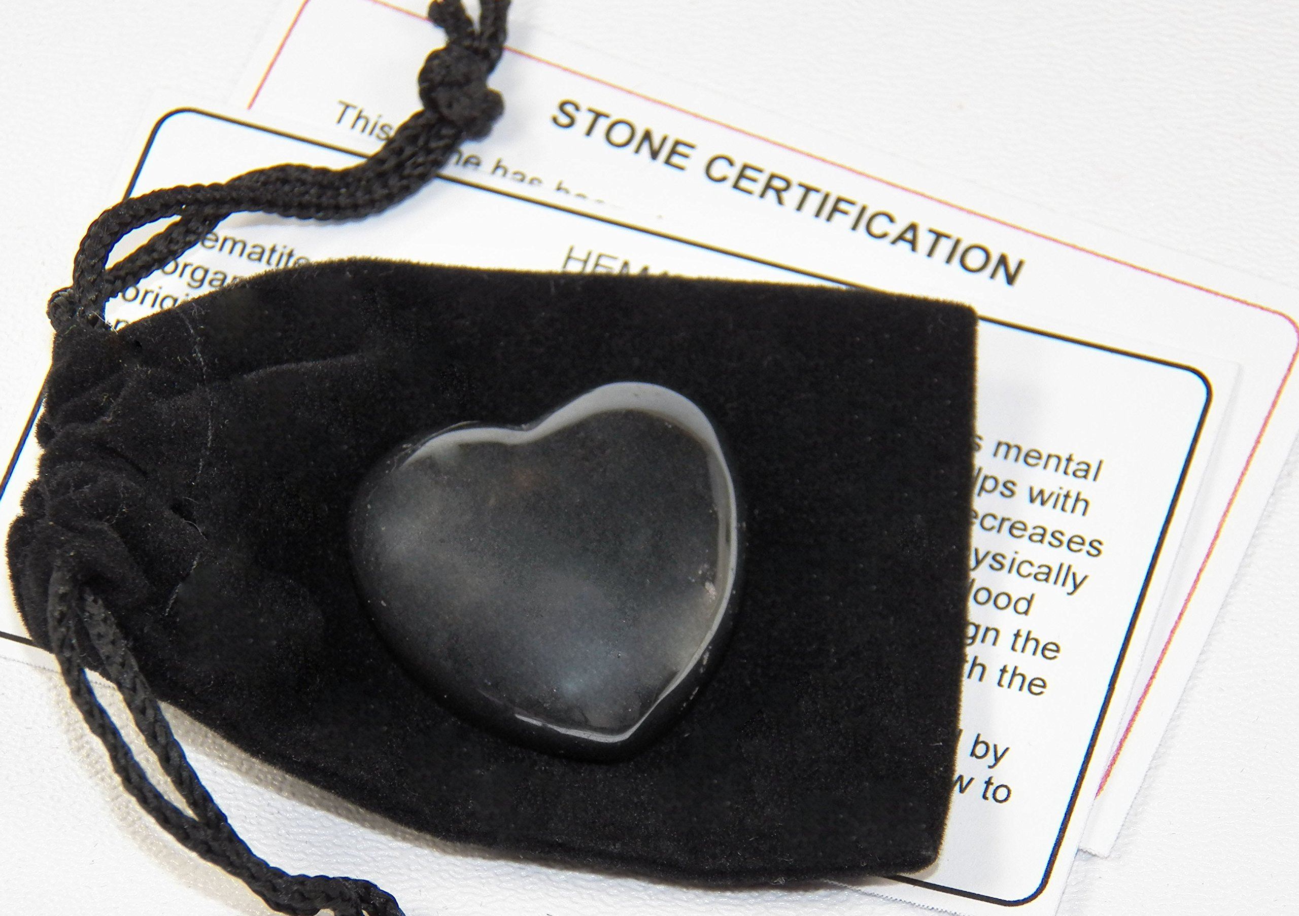 Fundamental Rockhound Products: Hematite Pocket Heart Gemstone Crystal with Carrying Pouch, info Card, Stone Certification, Tumbled Stone