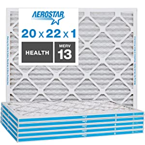 Aerostar Home Max 20x22x1 MERV 13 Pleated Air Filter, Made in the USA, 6-Pack