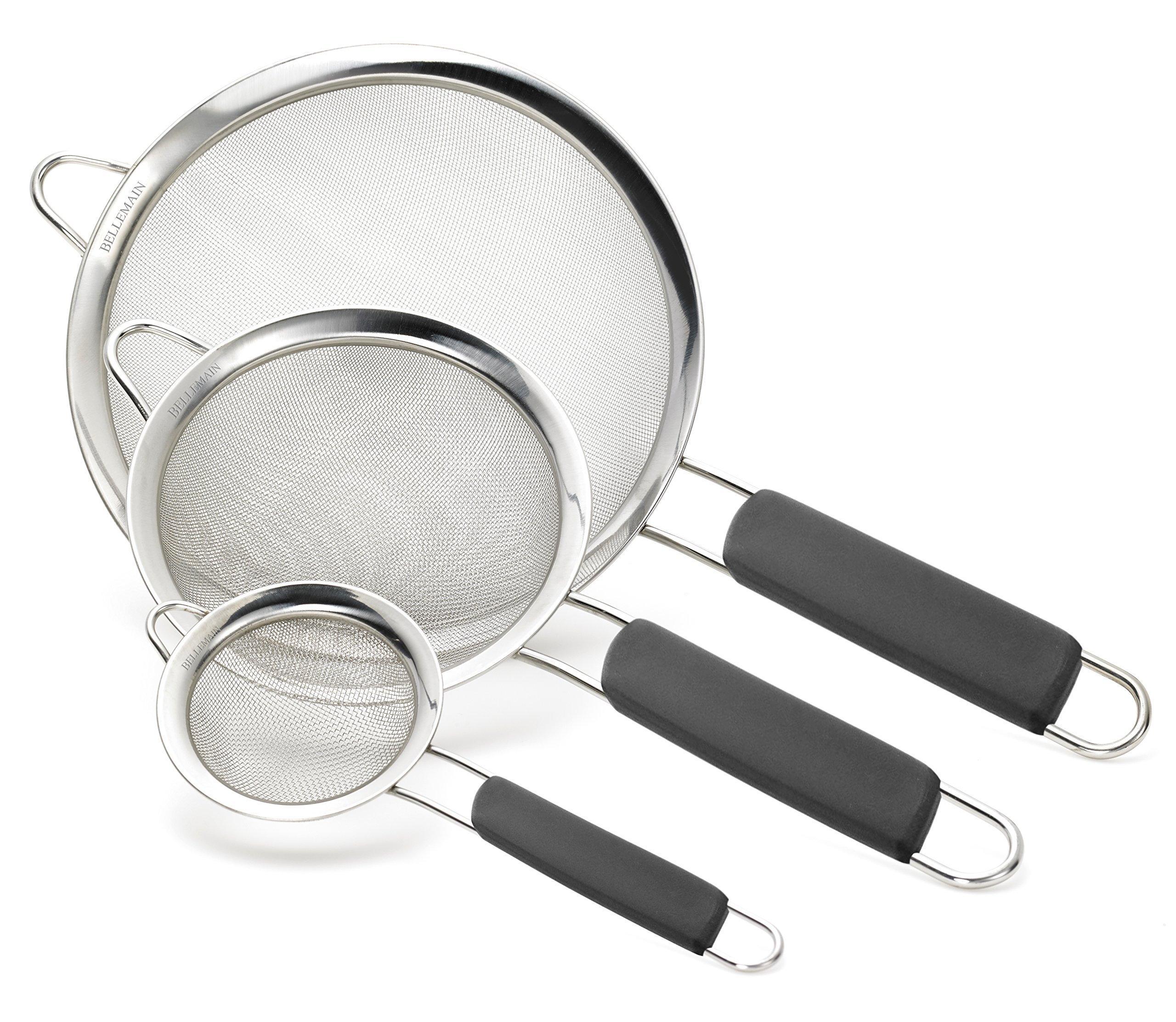 Bellemain Stainless Steel Fine Mesh Strainers, Set of 3 Graduated Sizes with Comfortable Non Slip Handles by Bellemain