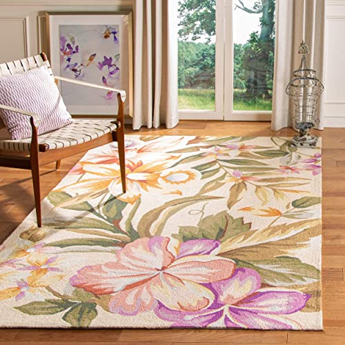 Safavieh Chelsea Collection HK212A Hand-Hooked Ivory Premium Wool Area Rug 8 9 x 11 9