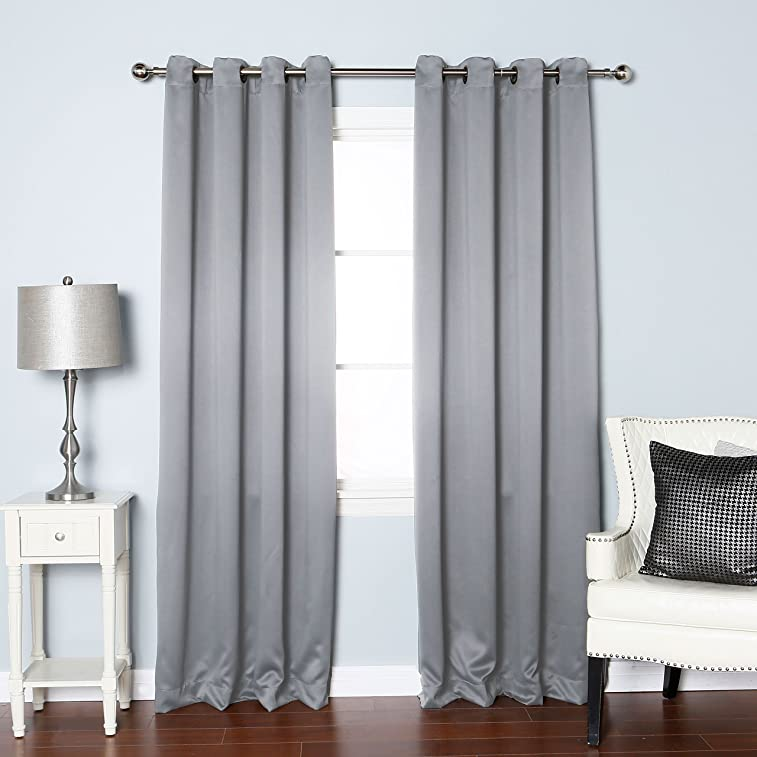 """Best Home Fashion Thermal Insulated Blackout Curtains - Antique Bronze Grommet Top - Grey - 52""""W x 84""""L - (Set of 2 Panels)"""