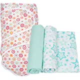 Miracle Blanket Swaddle with 2 pack Muslin Swaddling Blankets, Aqua Stars and Cirque De Fluer