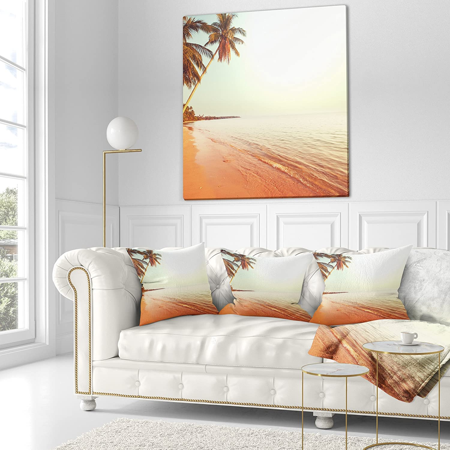 x 18 in Sofa Throw Pillow 18 in in Designart CU12404-18-18 Serene Huge Palm Trees Beach Photo Cushion Cover for Living Room
