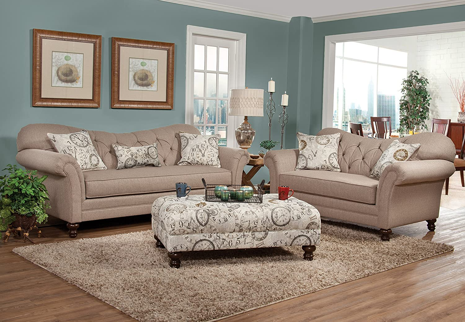 Amazon.com: Roundhill Furniture Metropolitan Taupe Fabric Upholstery Wood  Frame Sofa With Loveseat And Pillows: Kitchen U0026 Dining