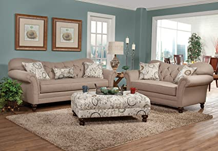 roundhill furniture metropolitan taupe fabric upholstery wood frame sofa with loveseat and pillows - Wood Frame Sofa