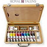 Royal Talens - Juego de acrílico artístico Van Gogh en funda de madera Premium - con acuarelas, paleta y cepillos.