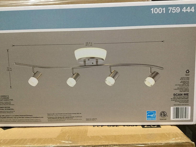 Hampton Bay HBTF1029-35 2.85 ft. 4-Light Brushed Nickel Integrated LED Track Lighting Kit with Flush Mount