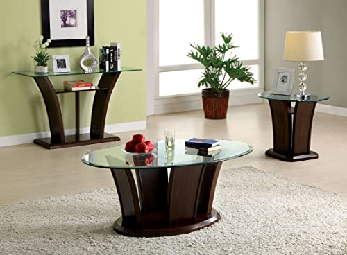 Furniture of America Veretta End Table with 10mm Beveled Glass Top, Dark Cherry Finish